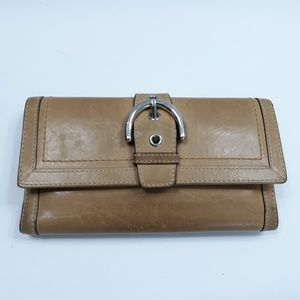 Coach Leather Buckle Trifold Checkbook Wallet